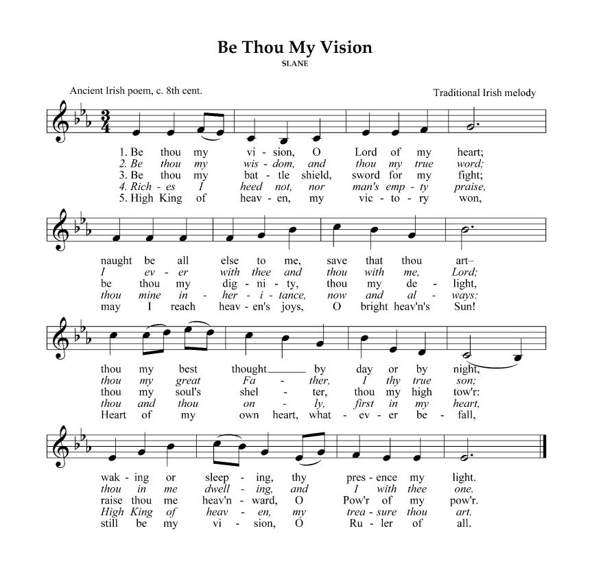 Lyric Be Thou My Vision Lyrics Be Thou And Be Thou My Be Thou My